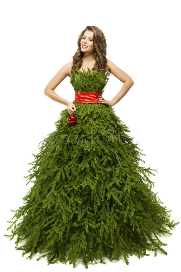 Woman Christmas Tree Dress, Fashion Model in Xmas Gown, White. Woman Christmas Tree Dress, Fashion Model in Xmas Gown Isolated over White background stock images