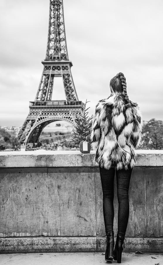 Woman with Christmas tree in front of Eiffel tower in Paris. The Party Season in Paris. Seen from behind trendy woman with Christmas tree in fur coat in the royalty free stock photos
