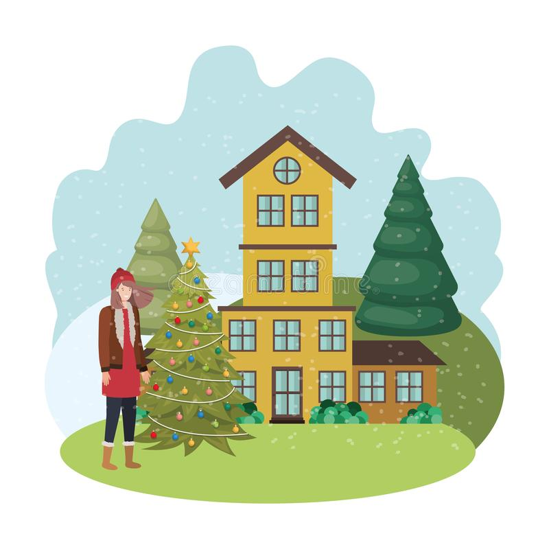 Woman with christmas tree outside of the house. Vector illustration desing royalty free illustration
