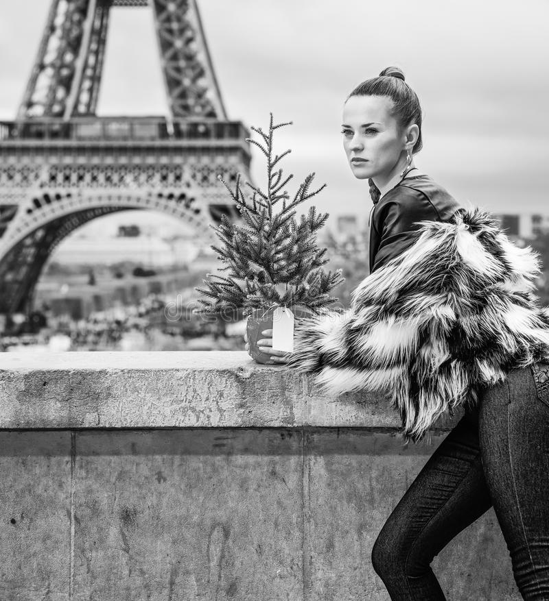 Woman with Christmas tree in Paris looking into the distance. The Party Season in Paris. trendy woman with Christmas tree in fur coat against Eiffel tower in royalty free stock image