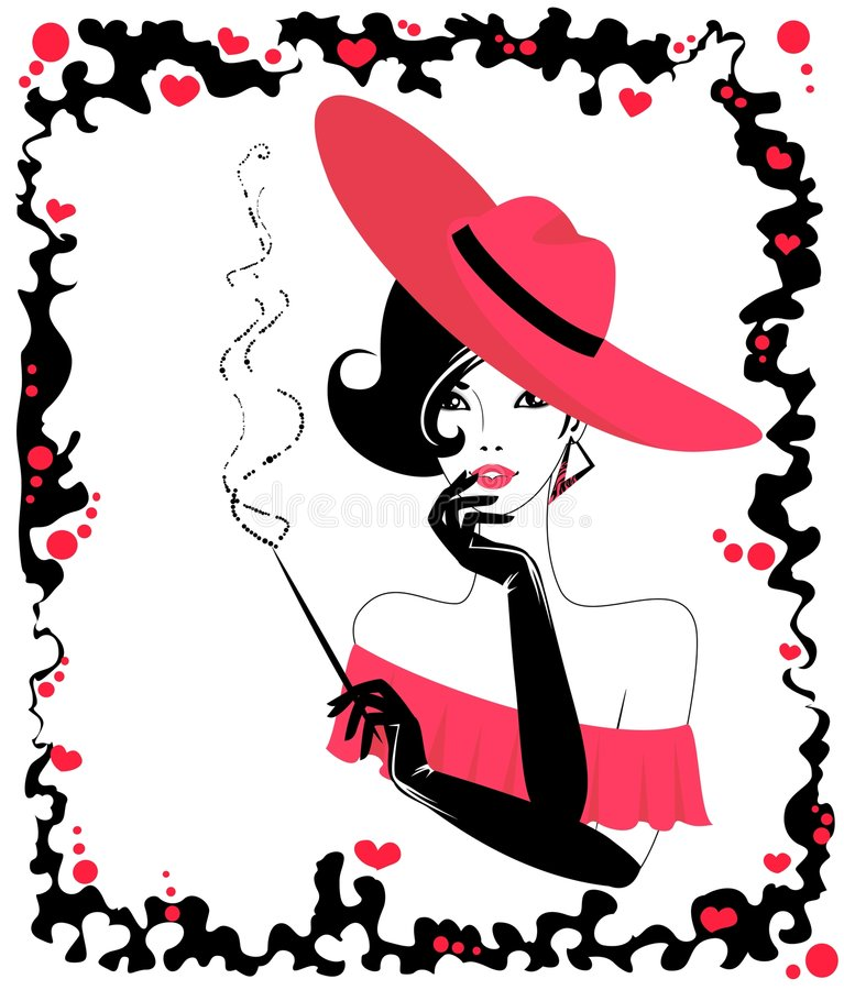 Woman with a cigar. The beautiful young woman with a cigar stock illustration