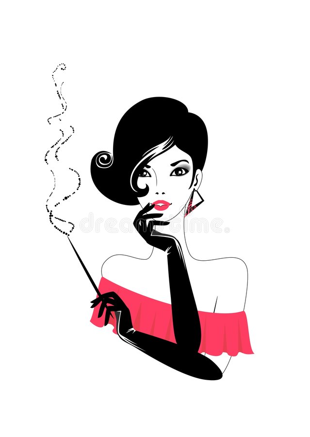 Woman with a cigar. The beautiful young woman with a cigar royalty free illustration