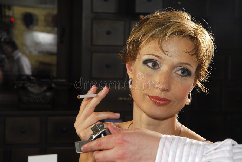 Woman with cigarette 2 stock photo