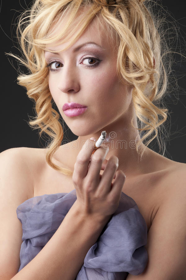Download Woman with cigarette stock image. Image of caucasian - 25775895