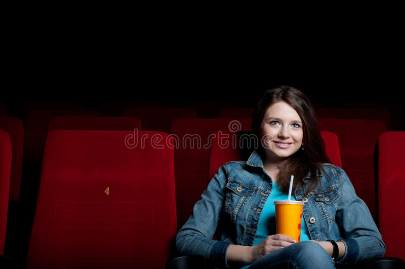 Download Woman in cinema stock photo. Image of fearful, adult - 24882982