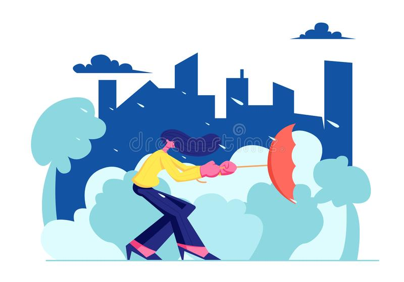 Woman City Dweller Holding Umbrella Turned Inside Out in Strong Wind with Rain on Urban View Landscape Background. Spring vector illustration