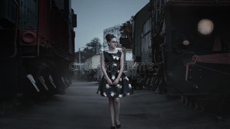 Woman in City at Night stock photos