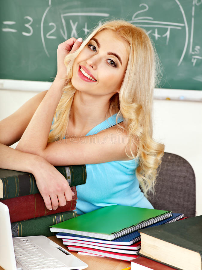 Download Woman in classroom. stock photo. Image of chalkboard - 30465546