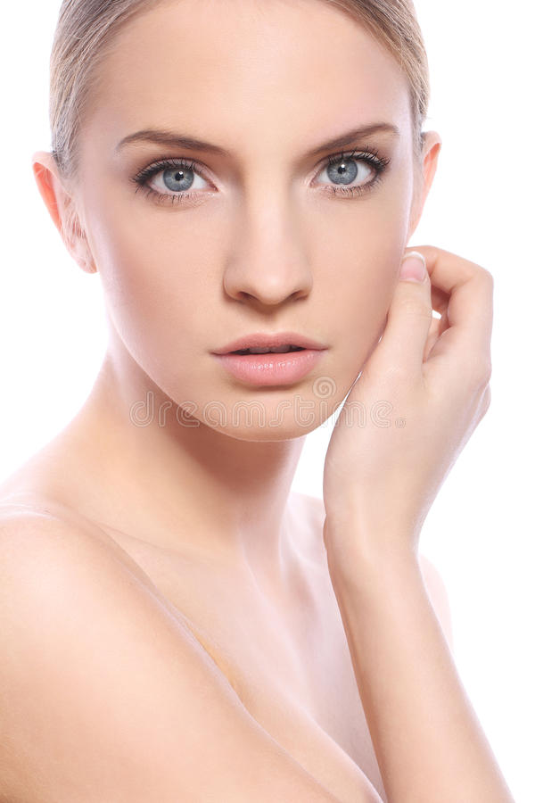 Woman with clean face over white background royalty free stock image