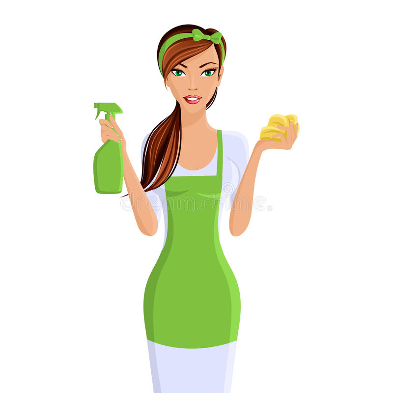 Woman cleaners portrait vector illustration
