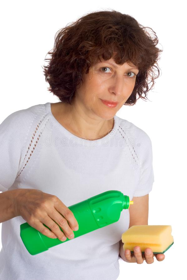 Woman cleaning stock photos