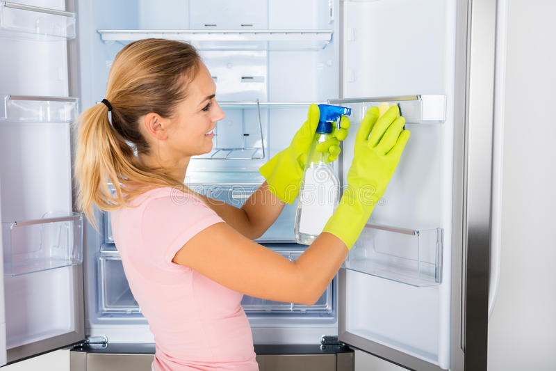 Woman Cleaning The Empty Refrigerator Door. Young Happy Housewife Woman Cleaning The Empty Refrigerator Door With Spray Bottle And Sponge royalty free stock photo