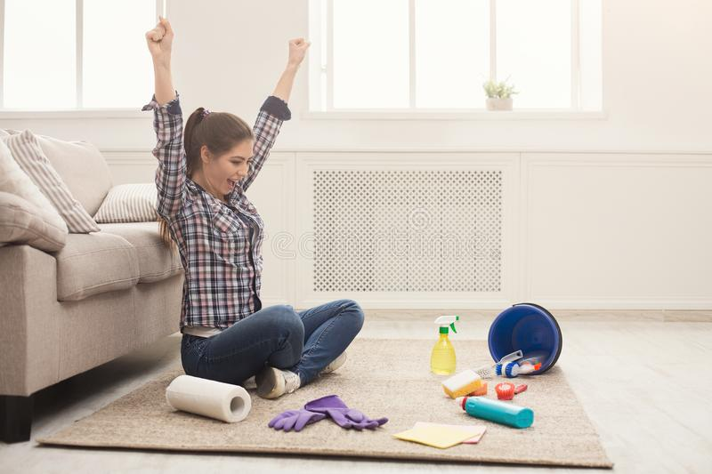Woman with cleaning equipment ready to clean room stock images