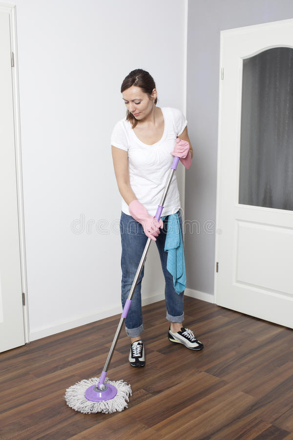 Download Woman Cleaning The Flat Royalty Free Stock Photography - Image: 24686827