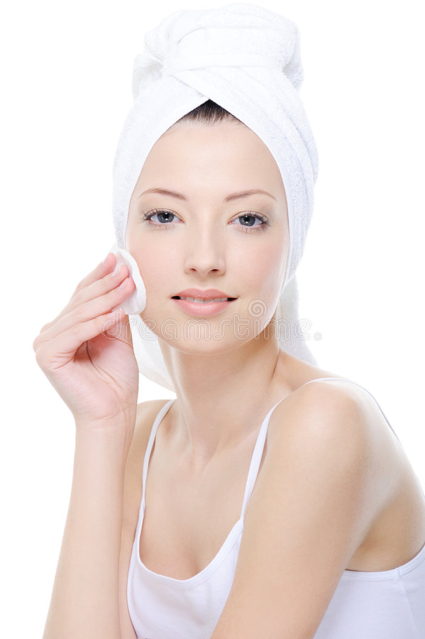 Download Woman Cleaning Her Face With Cotton Swab Stock Photo - Image: 9317854