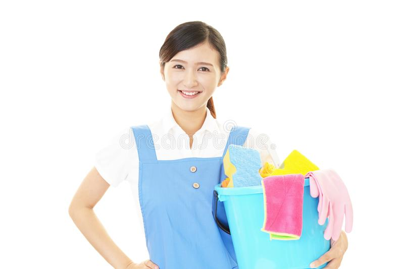 Woman cleaning the house. Smiling woman cleaning the house stock image