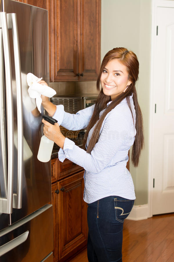 Woman Cleaning Kitchen royalty free stock photos
