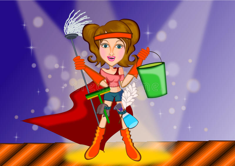Woman cleaning in superhero concept. Woman ready to clean the house in superhero concept illustration royalty free illustration