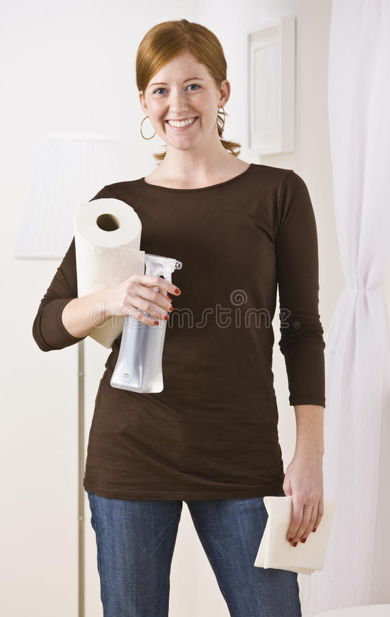 Woman With Cleaning Supplies stock photos