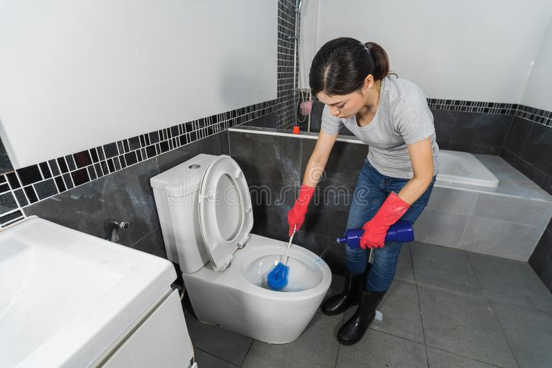 Woman cleaning toilet bowl with brush stock photos