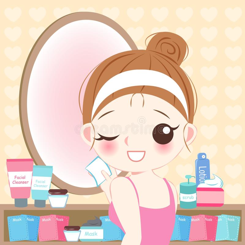 Woman with cleansing cotton. Cartoon skin care woman with cleansing cotton stock illustration