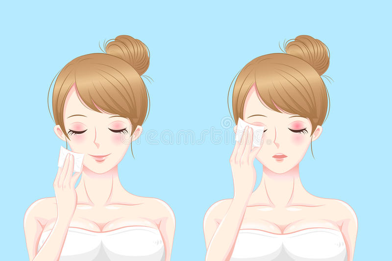 Woman with cleansing cotton. Cartoon skin care woman woman with cleansing cotton royalty free illustration