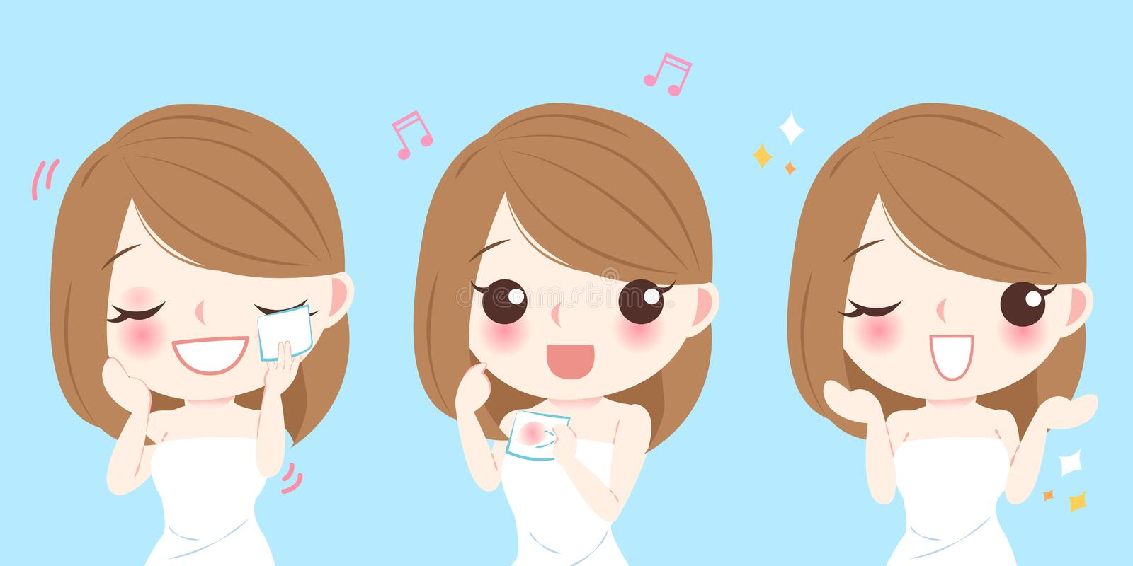 Woman with cleansing cotton. Cartoon skin care woman woman with cleansing cotton vector illustration