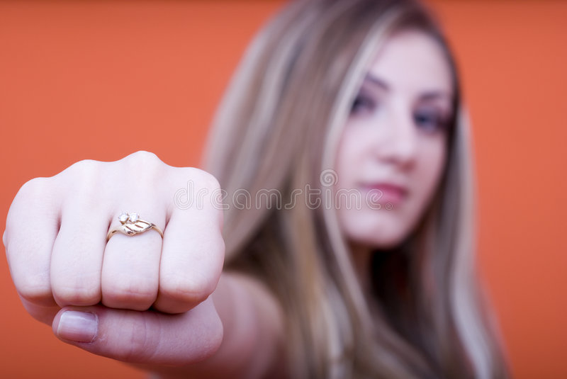 Download Woman with clenched fist stock photo. Image of studioshot - 2485548