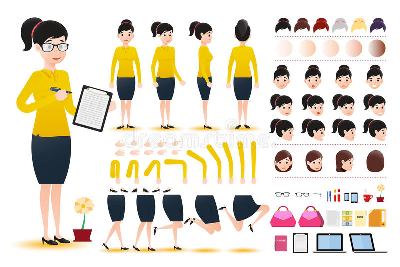 Woman Clerk Wearing Skirt Character Creation Kit Template with Different Facial Expressions vector illustration