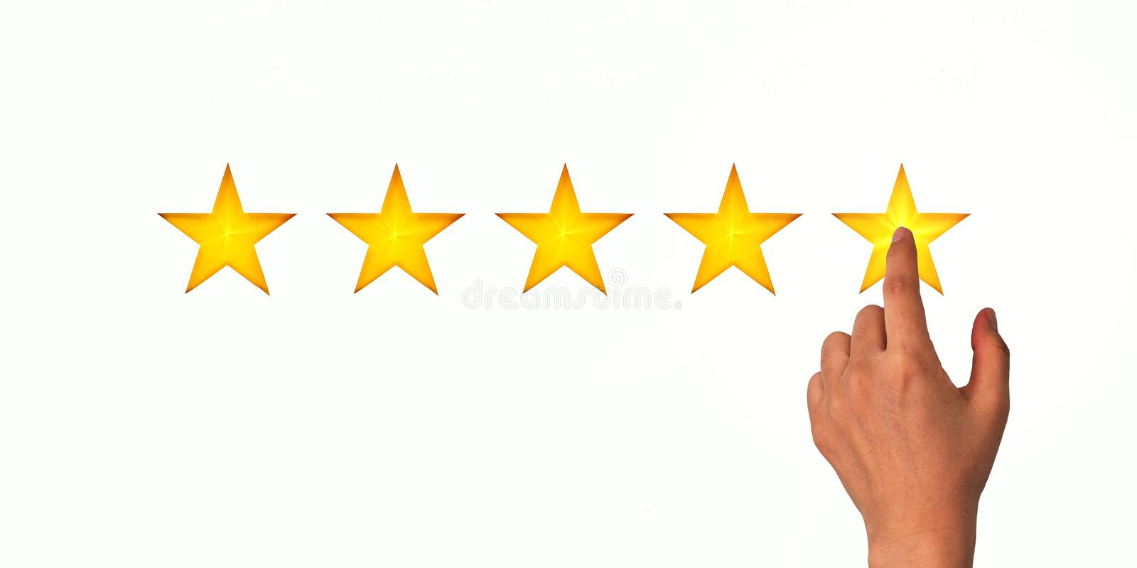 A woman clicks on a star rating, the concept of a positive rating, reviews and feedback. White background royalty free stock images