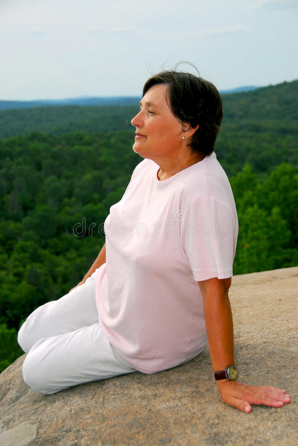 Download Woman at cliff edge stock image. Image of natural, happiness - 16478785