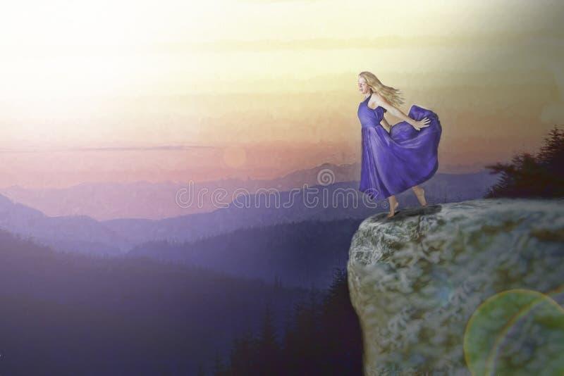 Woman on cliff edge. Woman in purple dress on cliff edge stock image