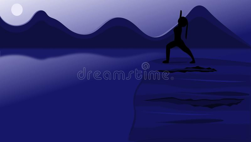 Woman on a Cliff in Warrior Pose royalty free stock photos