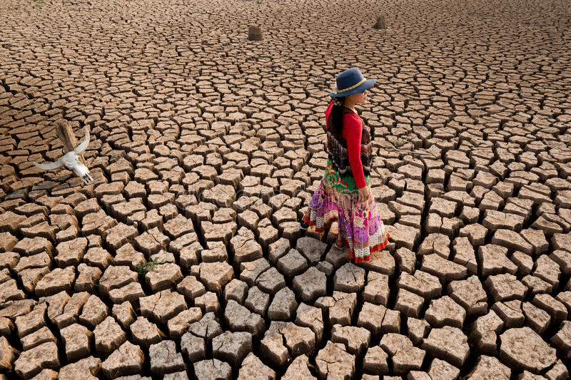 Woman in climate change world crisis royalty free stock photos
