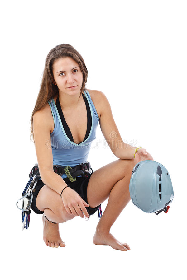 Woman In Climbing Equipment Royalty Free Stock Photography