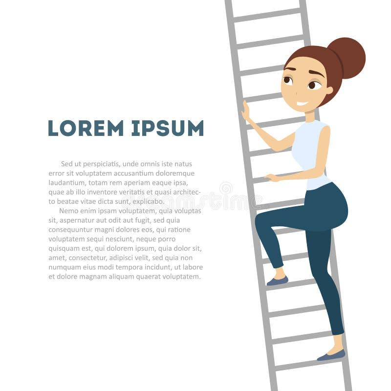 Woman climbing high. stock illustration
