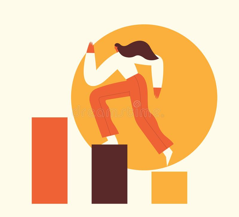 Woman climbing the steps to success. Motivation concept, career growth, leadership, business. Flat vector illustration vector illustration