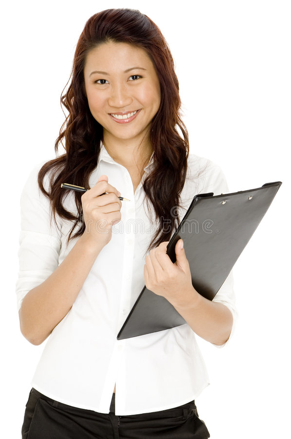 Woman With Clipboard royalty free stock photography