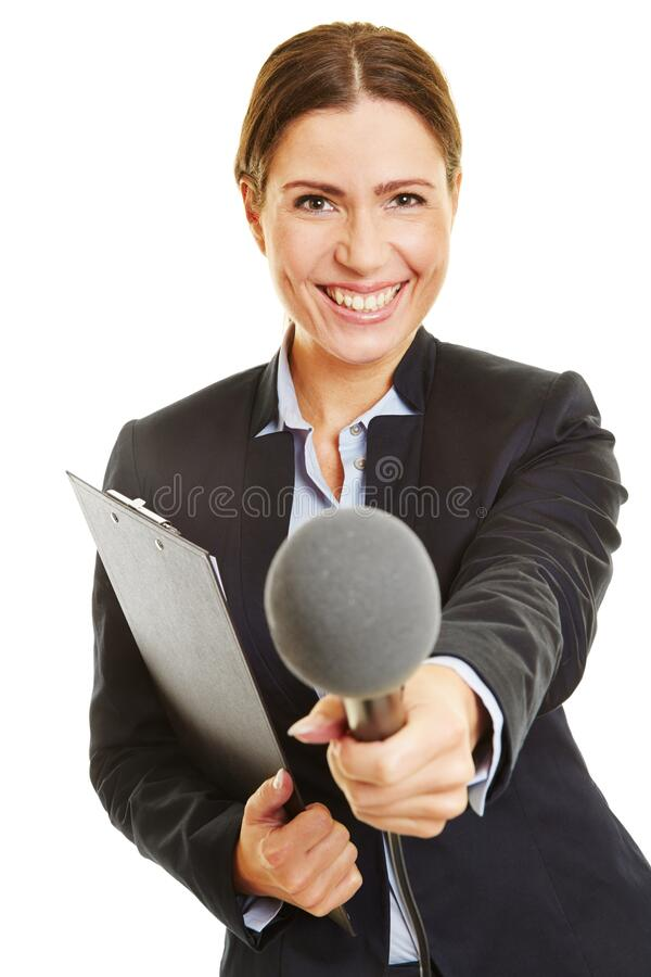 Woman with clipboard is holding microphone royalty free stock photography