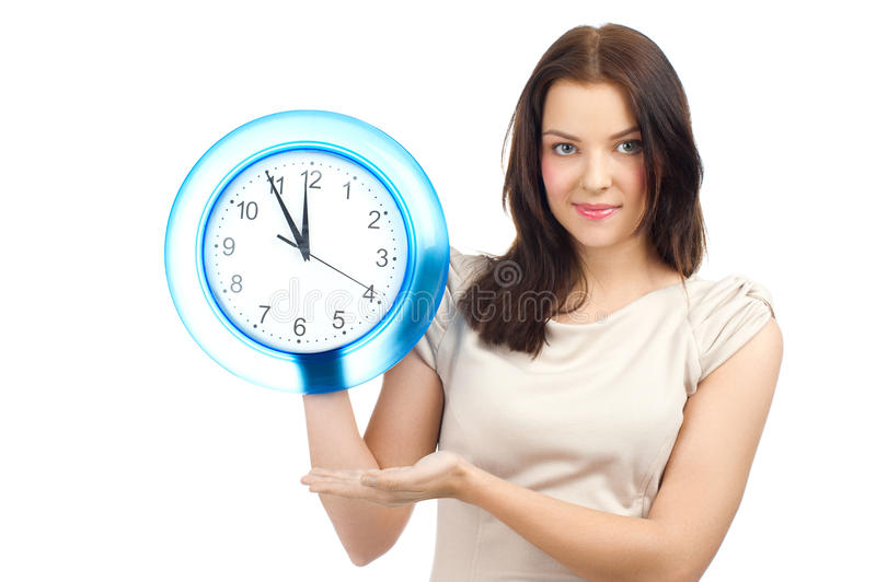 Download Woman with clock stock photo. Image of girl, people, caucasian - 24328722