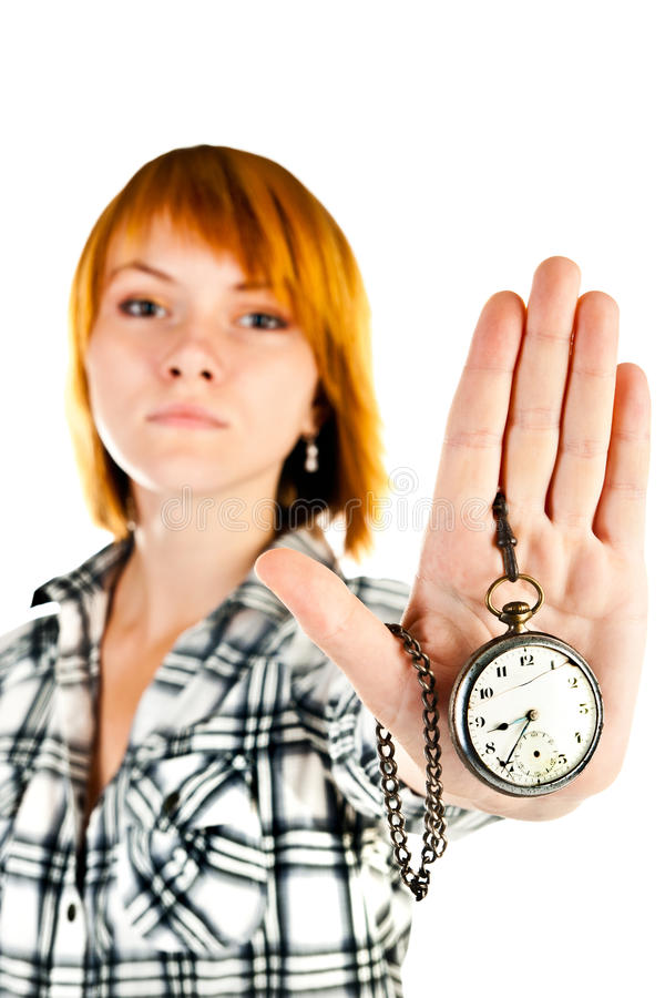 Download Woman with clock stock photo. Image of girl, female, future - 27217112