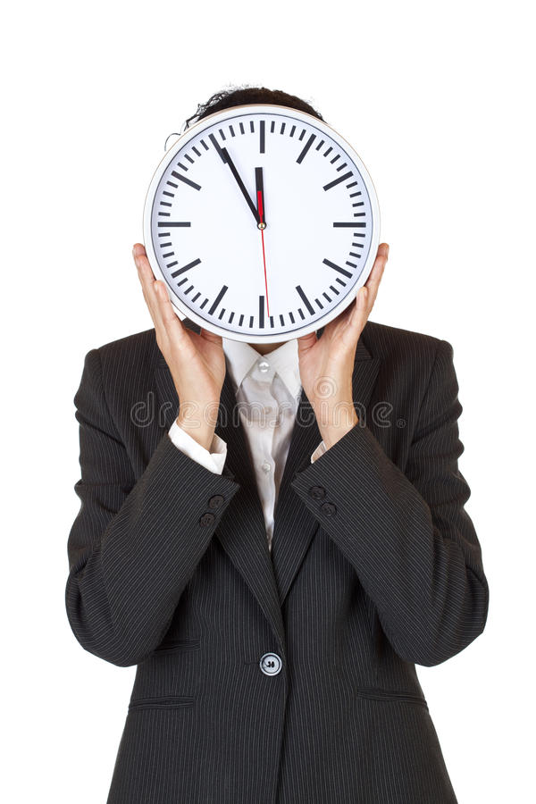 Download Woman With Clock Express Stress By Time Pressure Stock Photo - Image: 17526682