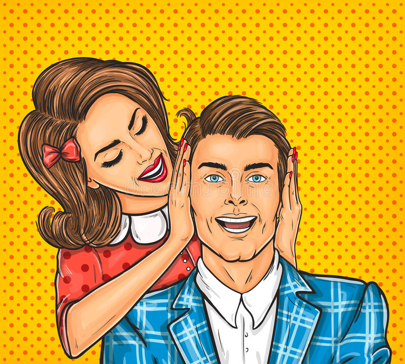 Woman close ears to the her man. Vector pop art illustration of a young woman close ears to the her man royalty free illustration