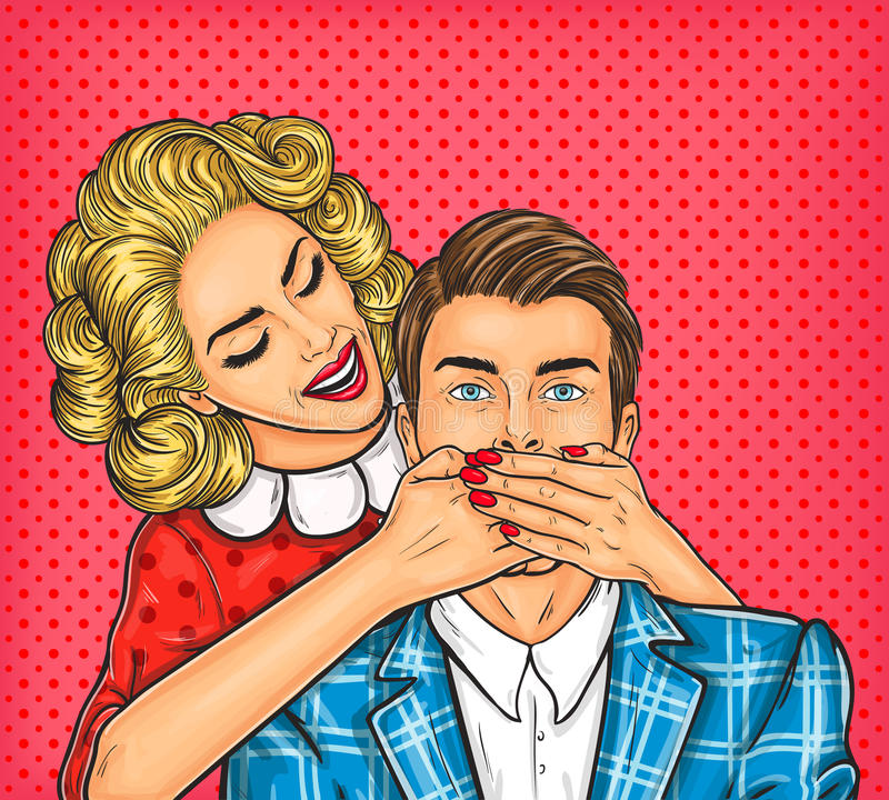 Woman close mouth to the her man. Vector pop art illustration of a young woman close mouth to the her man stock illustration