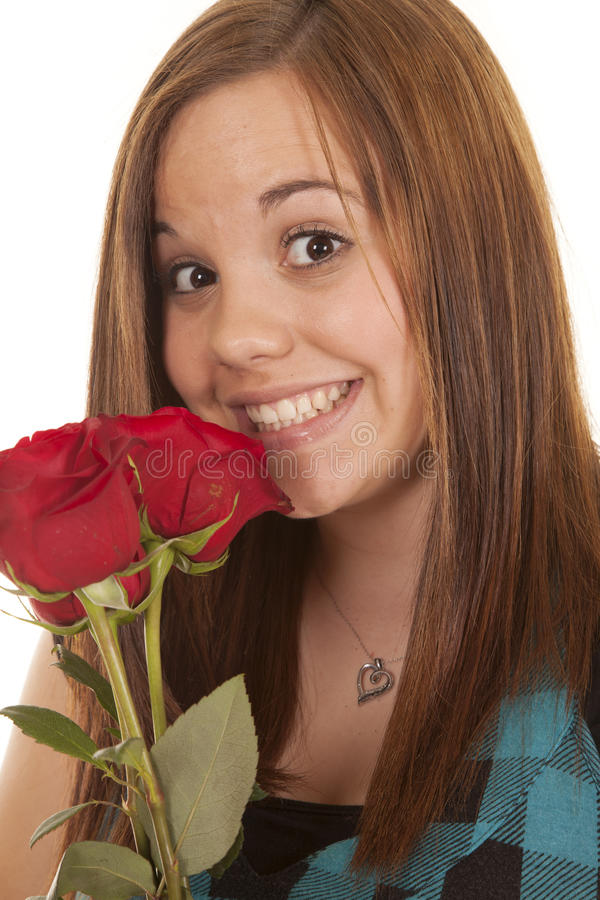 Woman close smile rose stock image