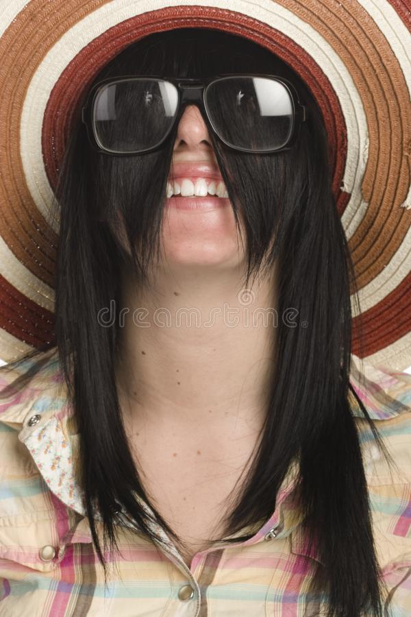 Woman close up with her hair stock photography