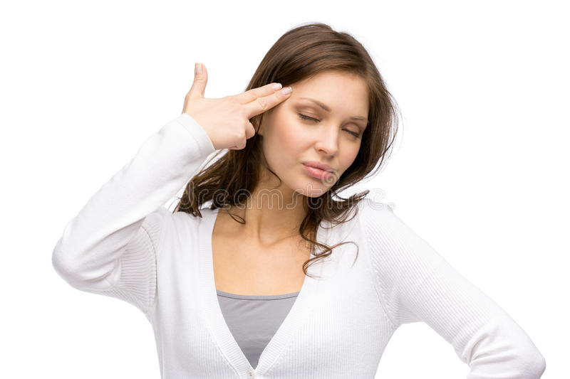 Woman with closed eyes hand gun gesturing. Portrait of woman with closed eyes hand gun gesturing, isolated on white stock images
