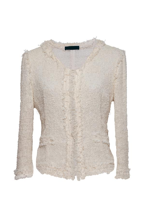 Woman clothes sweater on white. Female beige luxurious knitted w stock photos