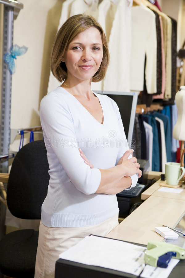 Download Woman At Clothing Store Smiling Stock Image - Image: 5940391