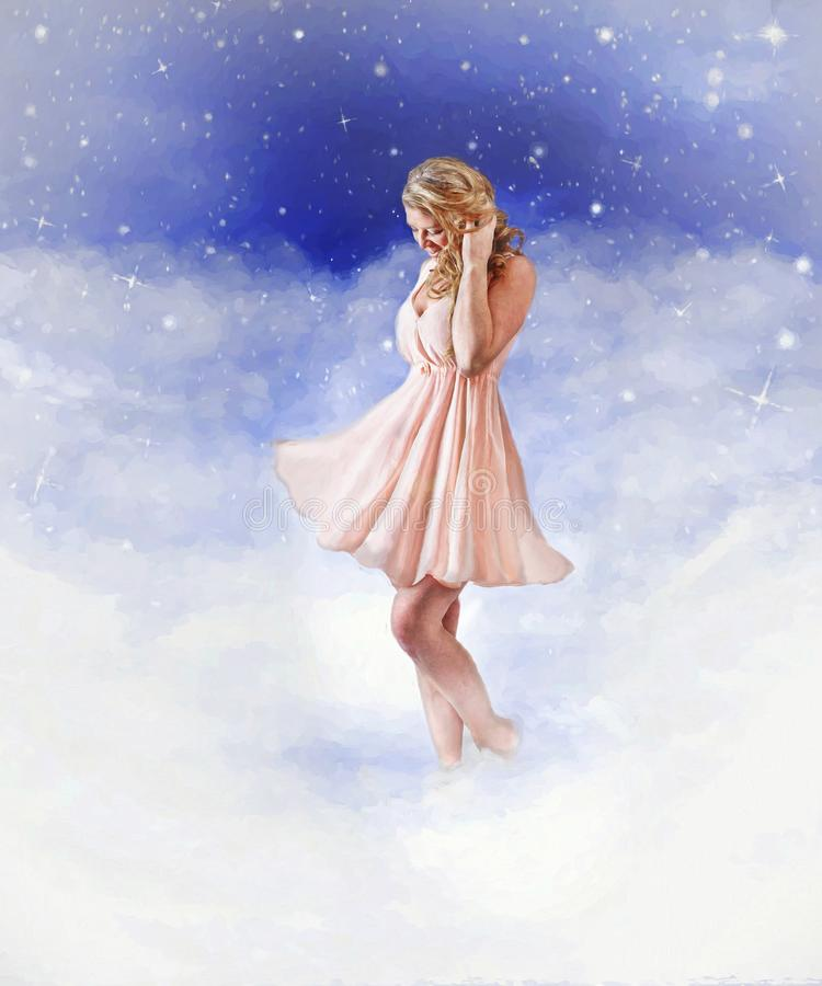 Woman in clouds royalty free illustration